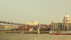 Panoramic view of Millennium Bridge in London from the right to left side - stock footage
