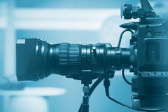 Professional video camera lens - stock photo