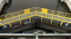 Sluice gate, view from above - stock footage
