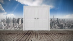 Door opening to city Stock Footage