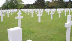 Colleville, Normandy American Cemetery Gravestone Reveal Stock Footage