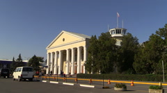 Old and new airport terminals Simferopol. Crimea. - stock footage