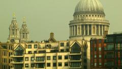 Tilt shot from the Thames to the St Paul's of London Stock Footage