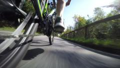 GoPro Sequence of Cyclist Training on a Road Stock Footage