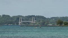 Bridge connecting the Rock Islands of PALAU Stock Footage