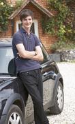 Young man with car Stock Photos