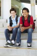 Pre teen boys at school - stock photo