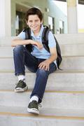 Pre teen boy at school - stock photo