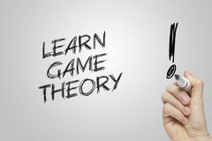 Hand writing learn game theory Stock Photos