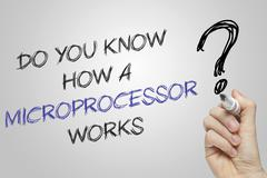Hand writing do you know how a microprocessor works Stock Photos