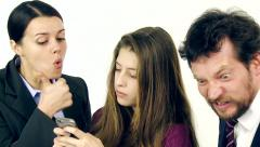 Parents furious with daughter addicted to cell phone slow motion closeup Stock Footage