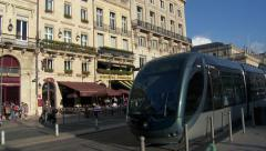 Bordeaux - Tram Passes  Bistro and Cafe - stock footage