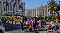 People Cross Intersection in Las Vegas Stock Footage