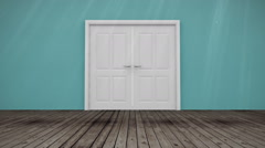 Door opening to light Stock Footage