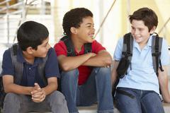 Pre teen boys in school Stock Photos