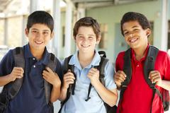 Pre teen boys at school Stock Photos