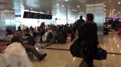 Inside Terminal of Istanbul Ataturk Airport, ISTANBUL, TURKEY Stock Footage