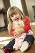 3 year old girl with Downs Syndrome Stock Photos