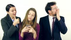 Parents furious with daughter addicted to cell phone slow motion Stock Footage