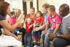 Group meeting for Downs Syndrome families Stock Photos