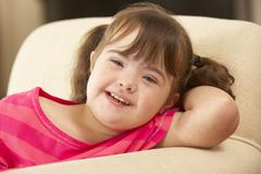 6 year old girl with Downs Syndrome Stock Photos