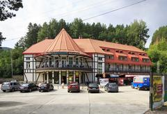 Ski resort, hotel, restaurant Blagodat at the resort Belokuriha - stock photo