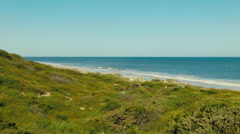 View Across A Lush Dune To The Ocean Stock Footage