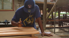 Artist Sketch on a Wooden Pallet in PALAU Stock Footage