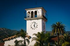 The clock tower at the Santa Barbara County Courthouse, in Santa Barbara, Cal - stock photo