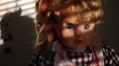 Splatter Doll | Witness to Horror | Venetian blinds sunset Stock Footage
