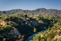 View of the Temescal Canyon in Pacific Palisades, California. Stock Photos