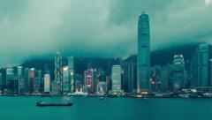 Time-lapse of Hong Kong's Victoria Harbour at blue hour - detail Stock Footage