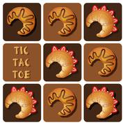 Tic-Tac-Toe of strawberry and chocolate croissant - stock illustration