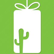Cactus cut out tag card in vector format. Stock Illustration