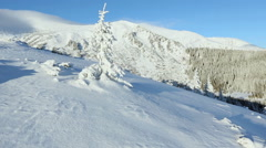 Morning winter mountain landscape (Carpathian, Ukraine). Stock Footage
