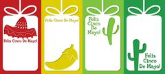 Mexican cut out tag collection in vector format. - stock illustration