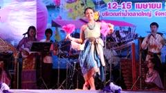 Student dances a traditional Dance at Songkran,Ubon Ratchathani,Thailand Stock Footage