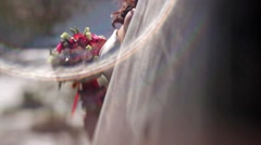 Bride with flowers, pinhold effect Stock Footage