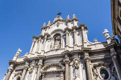 Catania Cathedral Facade, Catania, Sicily, ITALY - stock photo