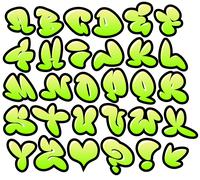 Stock Illustration of graffiti bubble vector fonts with gloss and outline lemon variation