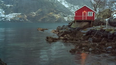 Nusfjord, one of Norways Oldest and Best Preserved Fishing Villages Stock Footage