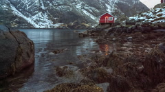 Nusfjord, one of Norways Oldest and Best Preserved Fishing Villages - stock footage