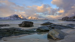Haukland Beach at sunrise in Norway Stock Footage