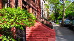 Brooklyn brownstone apartments in New York City - stock footage