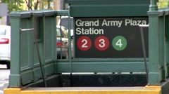 Grand Army Plaza Brooklyn Subway Entrance Stock Footage