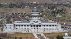 Aerial View of Utah State Capitol Building Stock Footage