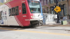 Amtrak train travels through salt lake city Stock Footage