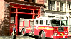 Fire Engine Leaving Station  Stock Footage