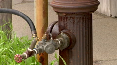 Fire Hydrant Leaking water Stock Footage
