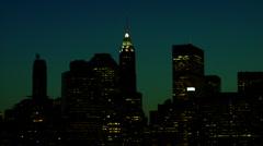 Bluish-Green Night sky Skyline Manhattan Stock Footage